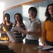 Studentele Cristina Mătulescu, Lavinia Dănciuc, Ramona Crângaşu şi Elisabeta Ureche, în sala M2, anul 2006